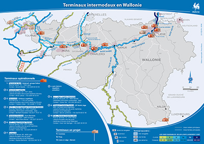 Cartes transport fluvial Intermodalité - Modernisation - Seine-Escaut en Wallonie